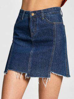 Asymmetrical Denim Cutoffs Skirt - Denim Blue L