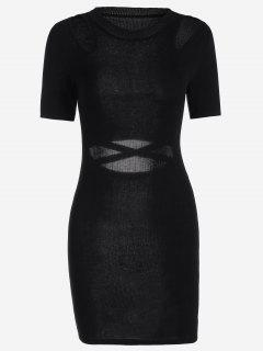 Cut Out Knitted Fitted Dress - Black