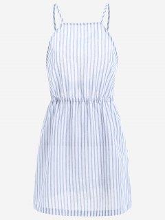Open Back Striped Cami Dress - Light Blue L