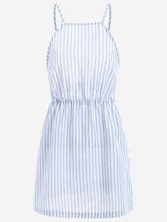 Open Back Striped Cami Dress - Light Blue M