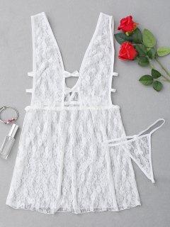 Robe Lingerie En Dentelle Transparente  - Blanc
