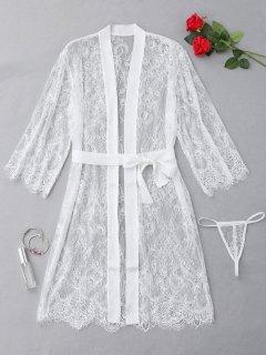 Sheer Sexy Pyjama Set Mit Muschel Und Spitze - Weiß