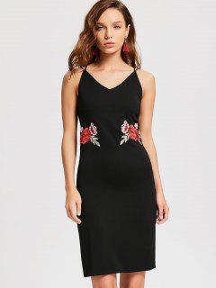 Flower Applique Slit Party Dress - Black S