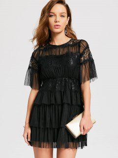 Robe Cocktail En Tulle Volantée - Noir Xl