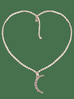 Collar De Colgante De Luna Colgante De Diamantes De Imitación - Dorado