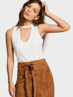 Cotton Cropped Choker Tank Top - White S