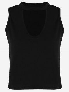 Camiseta Sin Mangas De Algodón Recortada - Negro S