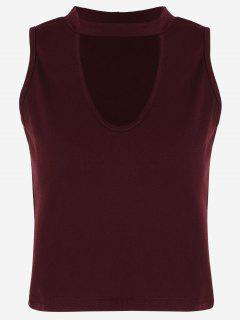 Cotton Cropped Choker Tank Top - Wine Red S