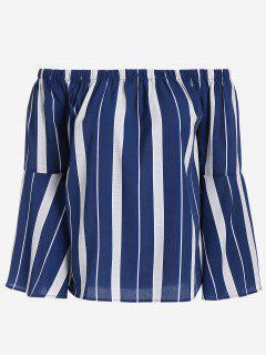 Weite Streifen Schulterfreie Bluse - Blau M