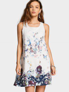 Sleeveless Butterfly Gaphic Swing Dress - White M