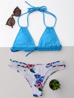 Halter Floral String Bikini Set - Lake Blue L