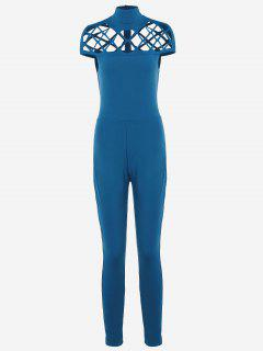 High Neck Cut Out Jumpsuit - Blue Xl