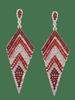 Sparkly Rhinestoned Geometric Dangle Earrings - Red