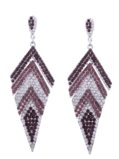 Sparkly Rhinestoned Geometric Dangle Earrings - Purple