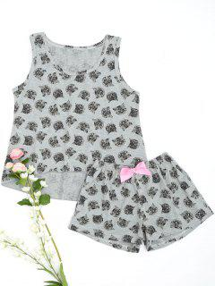 Cute Pussy Cat Top With Shorts Loungewear - Gray M