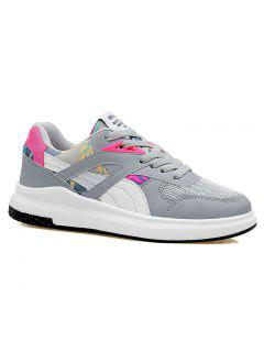 Color Block Mesh Running Athletic Shoes - Grey And White 37