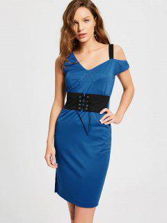 Corset Front One Shoulder Prom Dress - Blue L