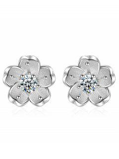 Floral Earring Jackets With Faux Crystal - White