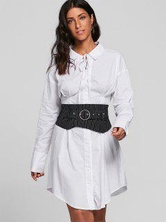 Corset Belted Casual Shirt Dress - White