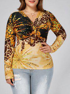 Leopard Printed Plus Size Long Sleeve Knot T-shirt - Yellow 6xl