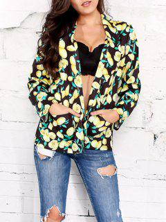 Open Front Shawl Collar Lemon Print Blazer - Black 2xl