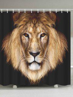 Lion Head Waterproof Polyester Shower Curtain - Coffee Brown W71 Inch * L79 Inch