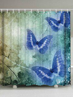 Rideau De Douche Vintage Motif Papillons Pour Décor De Salle De Bain - Largeur71pouces*longueur79pouces