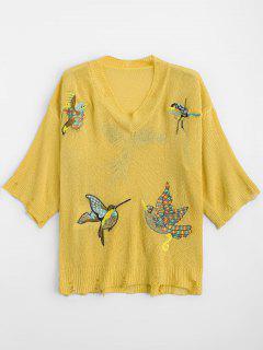 V-Ausschnitt Ripped Birds Bestickte Pullover - Gelb