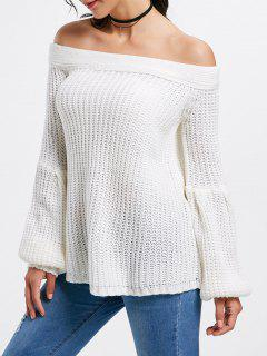 Off The Shoulder Bell Sleeve Sweater - White