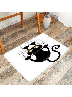 Naughty Cat Printed Area Rug - White And Black W20 Inch * L31.5 Inch