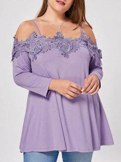 Lace Insert Plus Size Cold Shoulder Blouse - Light Purple Xl
