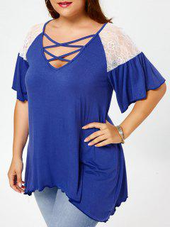 Plus Size Criss Cross Drop Shoulder Tunic T-Shirt - Blue Xl