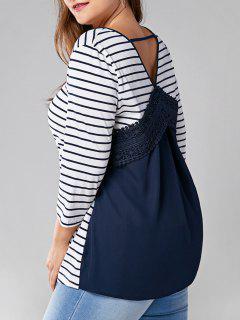 Plus Size Lace Panel Ausschnitt Striped T-Shirt - Streifen  5xl