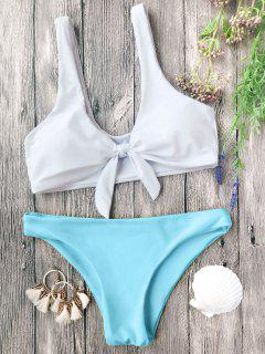 Padded Knotted Bralette Bikini Set - Blue And White L