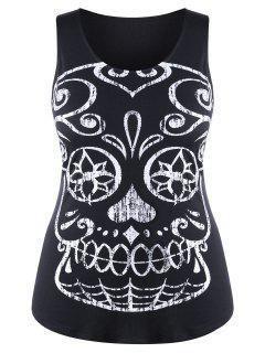 Plus Size Skull Slim Top - Black 2xl
