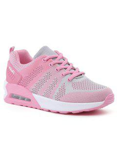 Color Block Breathable Air Cushion Athletic Shoes - Pink And Grey 38