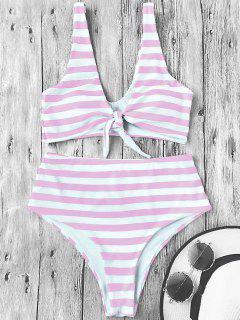 Knotted Striped High Waisted Bikini Set - Pink And White L
