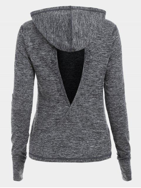 womens Heathered Back Crossover Cut Out Sporty Hoodie - GRAY L Mobile