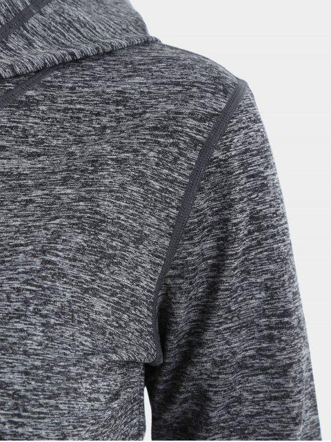 women Cut Out Back Crossover Heathered Hoodie - GRAY M Mobile