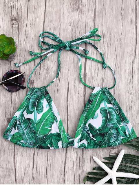 sale Padded Palm Print Bikini Top - GREEN M Mobile