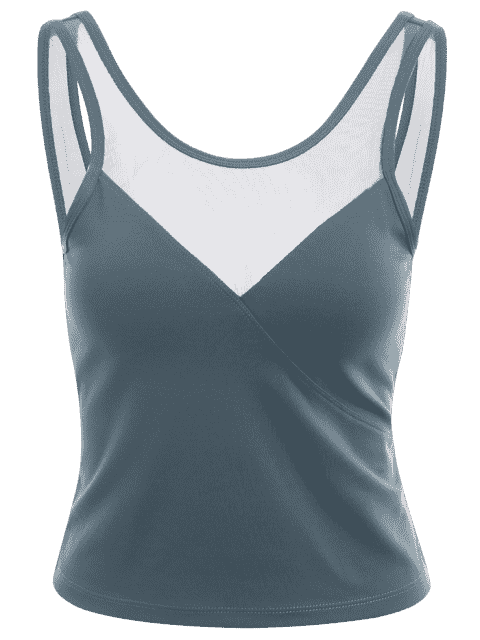 buy Mesh Panel Backless Sports Tank Top - BLUE GRAY S Mobile