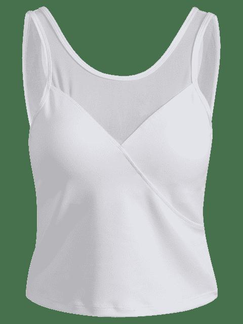 women Mesh Panel Backless Sports Tank Top - WHITE M Mobile