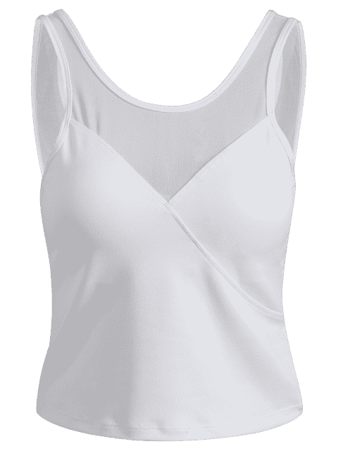 women's Mesh Panel Backless Sports Tank Top - WHITE S Mobile