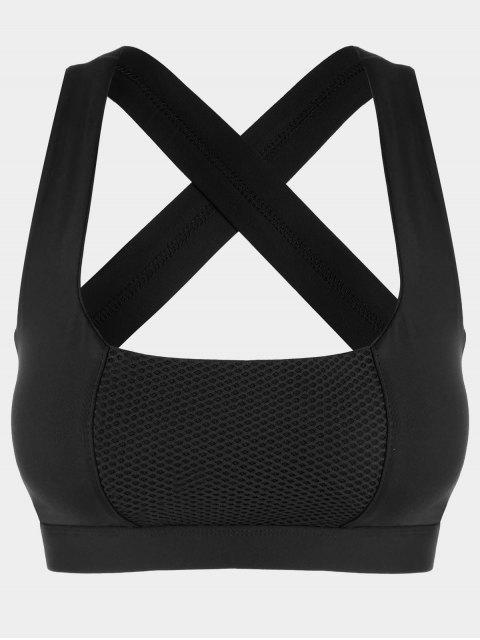 ladies Mesh Panel Crisscross Cutout Sports Bra - BLACK XL Mobile