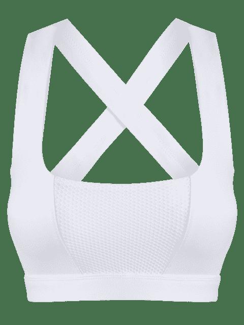 best Mesh Panel Crisscross Cutout Sports Bra - WHITE XL Mobile