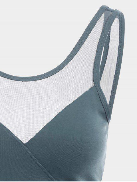 latest Mesh Panel Backless Sports Tank Top - BLUE GRAY L Mobile