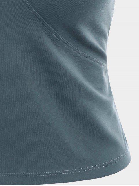 fashion Mesh Panel Backless Sports Tank Top - BLUE GRAY M Mobile