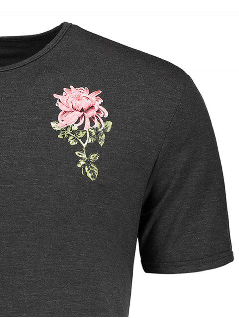 women Tropical Floral Print T-shirt - GRAY L Mobile