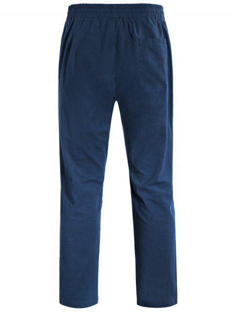 Casual Pockets Drawstring Pants - Bleu Cadette 4XL Mobile