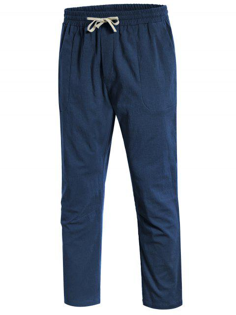 Casual Pockets Drawstring Pants - Bleu Cadette L Mobile